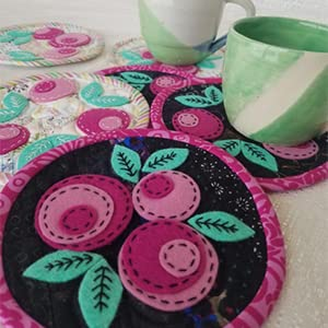 modern, applique, crafts, sewing, stitching, wool, wool projects, flowers