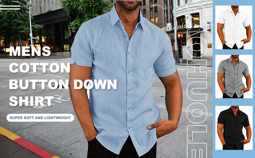 YAOHUOLE Men's Casual Button Down Shirt Short Sleeve Cotton Beach Shirt with Pocket