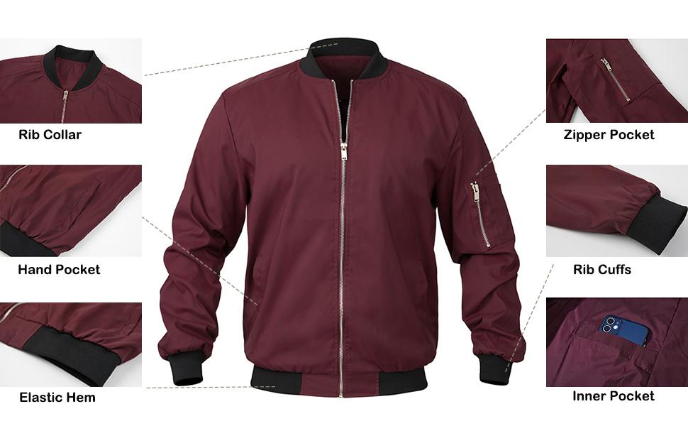 mens bomber jacket lightweight jacket for men spring fall military flight jacket