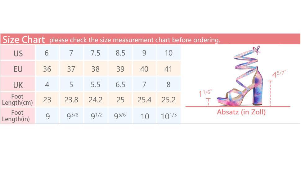 Allegra K Women's Tie Dye Platform Chunky Heel Lace Up Sandals