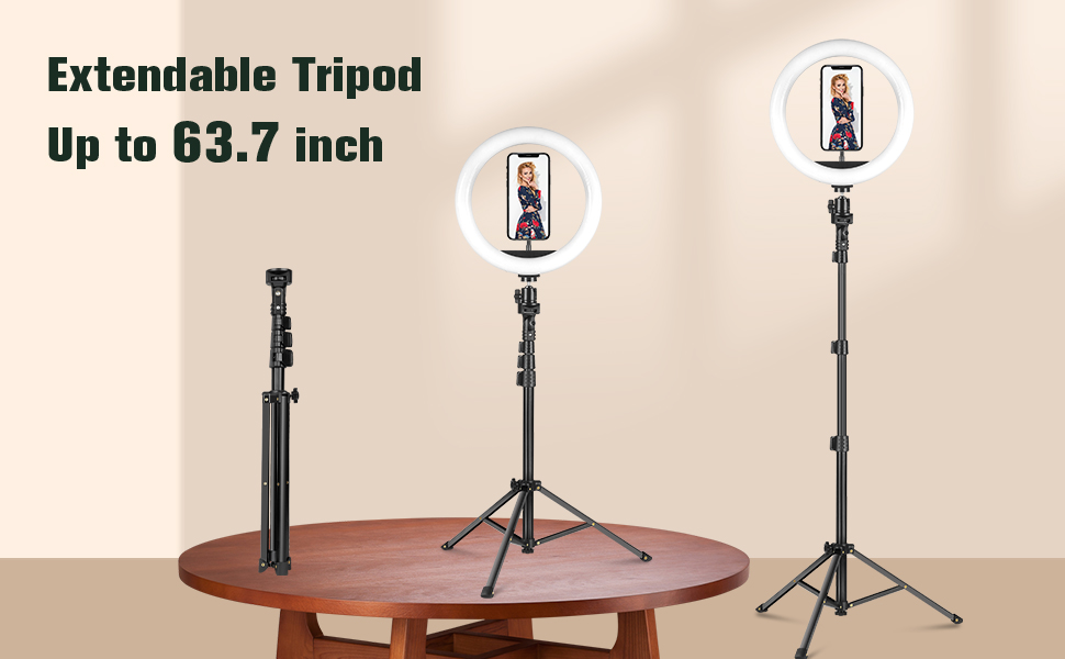 3 Section tripod,from 17.7inch to 63.7inch, Meet Your Height Needs!