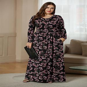 women long sleeve plus size dress