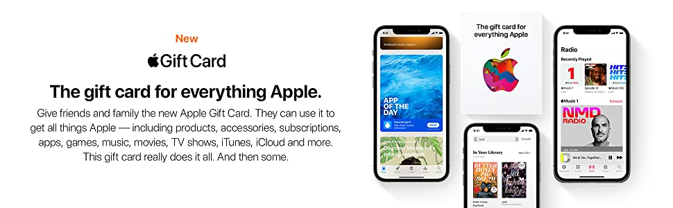 new Apple Gift Card, products, accessories, subscriptions, apps, games, music, movies, TV, iTunes