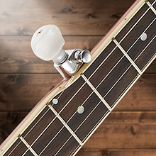 Ashthorpe five string banjo, mahogany neck, fret board with smooth seated frets, geared fifth tuner