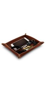 Londo Top Grain Leather Valet Tray, Office Desk Organizer, Storage Tray
