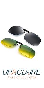 UpaClaire Clip On Sunglasses and Night Driving Glasses