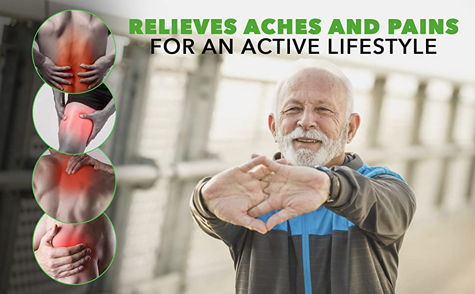 RELIEVES ACHES AND PAINS FOR AN ACTIVE LIFESTYLE