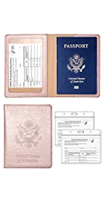 rose gold passport holder with vaccine card slot