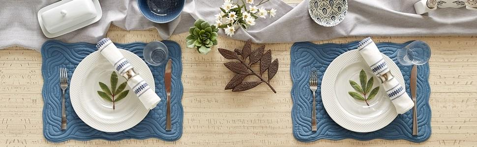 DII Quilted Farmhouse Tabletop Collection - French Blue Placemats used to set the dining table.