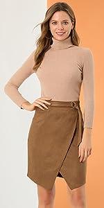 B096Z8NYZ4 Faux Suede Skirt