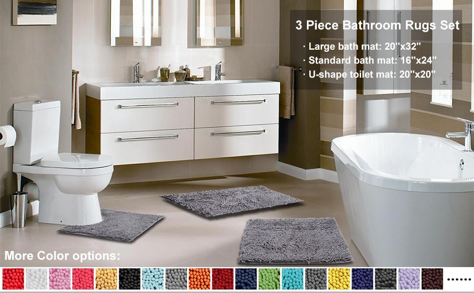 3 Piece Bathroom Rugs Set - Size and color