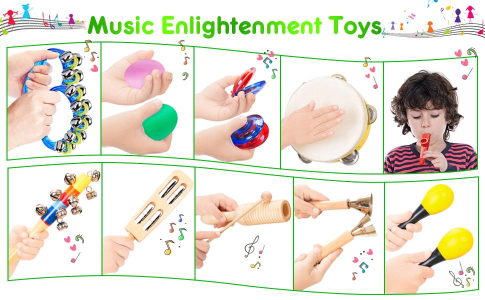 FUN LITTLE TOYS Musical Instruments Toddler Toys Professional Preschool Music Education Toys Percussion Instruments Set Music Early Learning Toys for Boys and Girls Radom Color