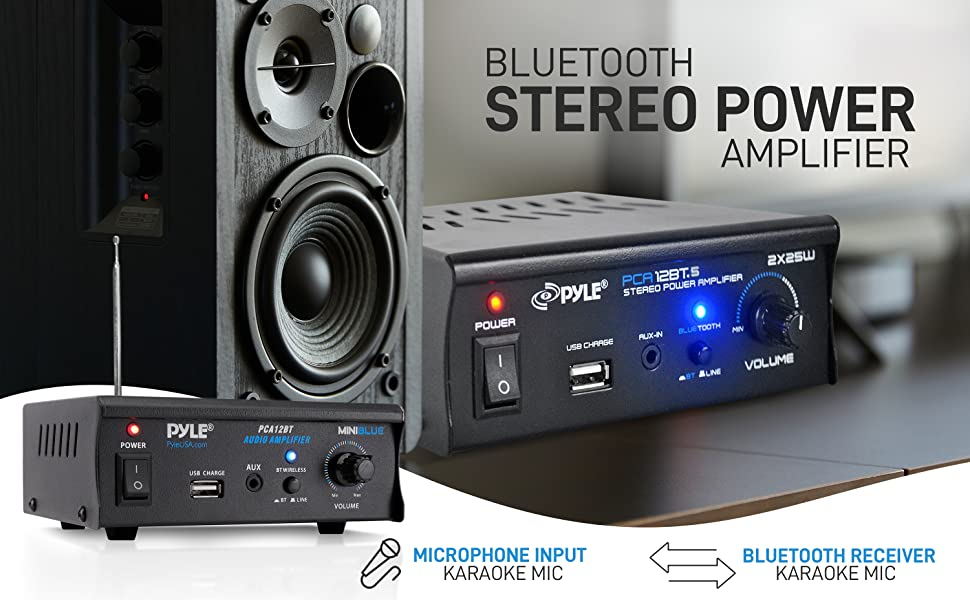 Pyle PCA12BT.5 2x25 Watt Mini Power Amplifier-Portable Wireless Bluetooth Mini Home Stereo Audio