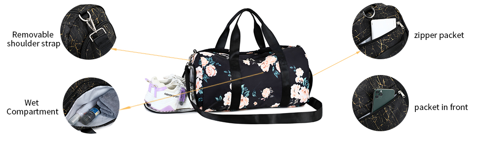 Gym Bag Sports Duffle Bag with wet pocket