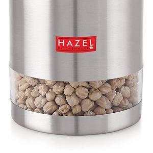 HAZEL Stainless Steel Container Transparent See Through Matt Finish Storage Jar Dabba