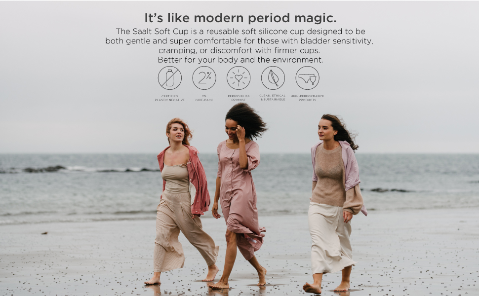 Modern period magic, Saalt Soft Cup is a reusable period cup both gentle and super comfortable.