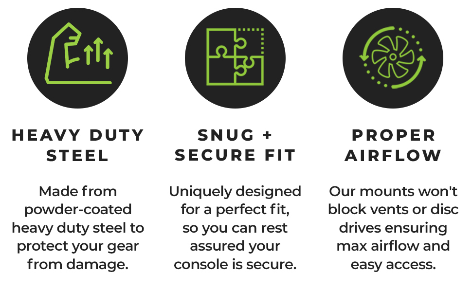 HIDEit Mounts are made from heavy duty steel for a secure fit.
