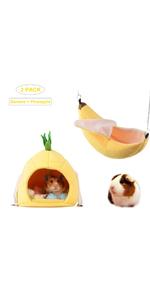 2 Pack of Hamster Bed House Hamster Bedding