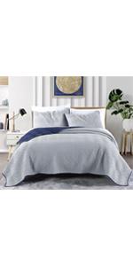 Grey and Navy Reversible microfiber 3-Piece comforter