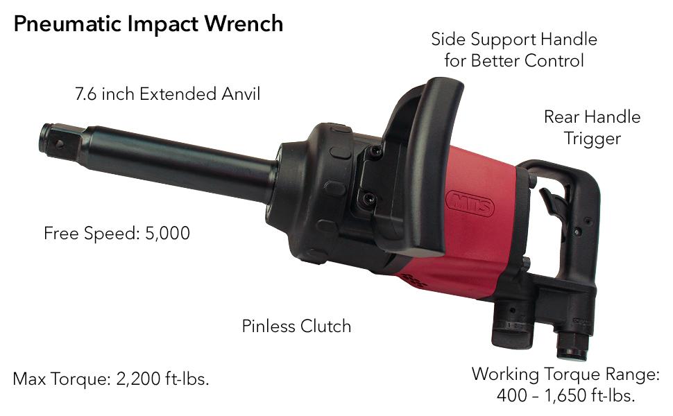 1-Inch Drive Pneumatic Air Powered Impact Wrench, Pinless Clutch, Maximum Torque 2,200 ft-lbs