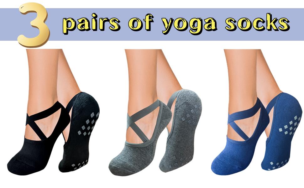3 pairs of yoga socks
