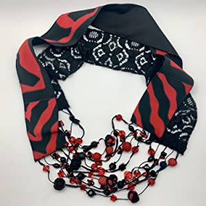 Scarf Necklace Red Black