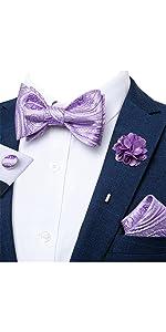 DiBanGu Purple Bow Tie Self Necktie and Lapel Pin Set for Men