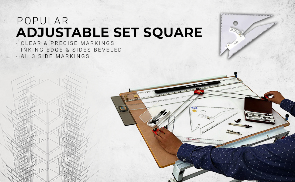 Adjustable Set Square – Inking Edge – Sides Beveled 3 Side Markings Packed in Canvas Cover  SPN-REEF