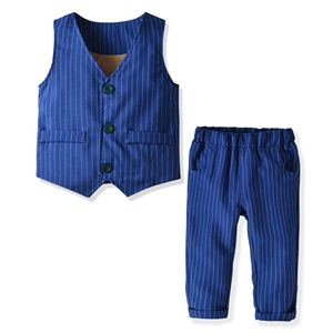 Stripe Royal Blue Vest and Pants Set