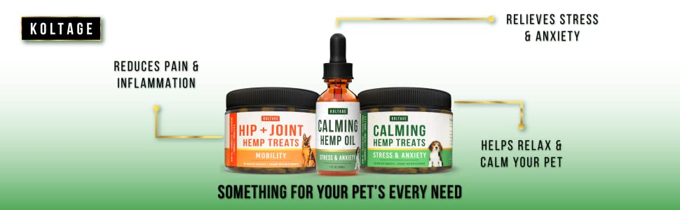 Koltage pet products reduce pain and inflammation and relieve stress and anxiety
