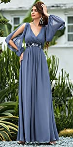 A-line Long Sleeve V-Neck Chiffon Mother of The Bride Dress