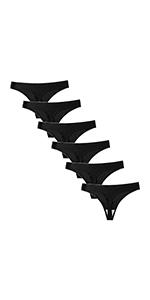 Seasment Women's G-Strings Thongs Knickers 6 Black