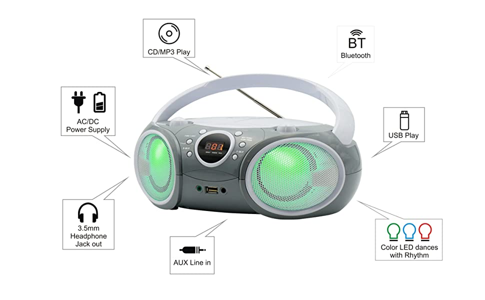 Full function portable CD boombox with bluetooth and LED