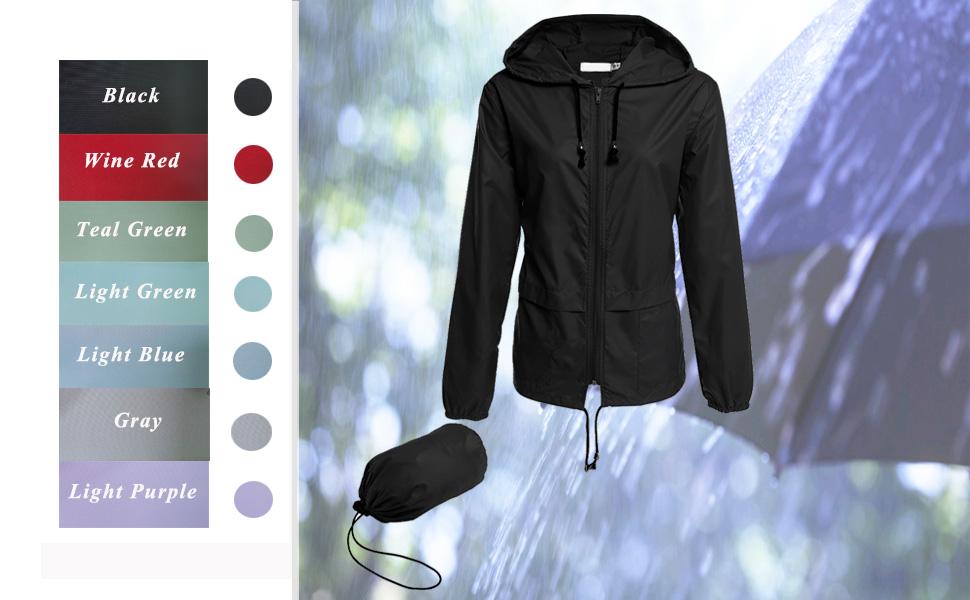 women raincoats ligthweight waterproof windbreaker jackets