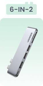 USB C hub 6 IN 2