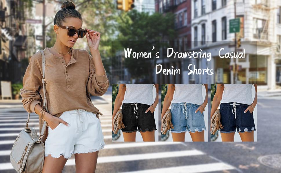 women drawstring denim shorts