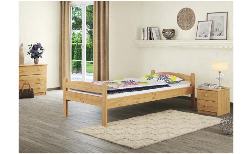 Lit simple en bois, lit en bois, lit pour adolescent, lit d'appoint, lit d'enfant, lit en bois massif.
