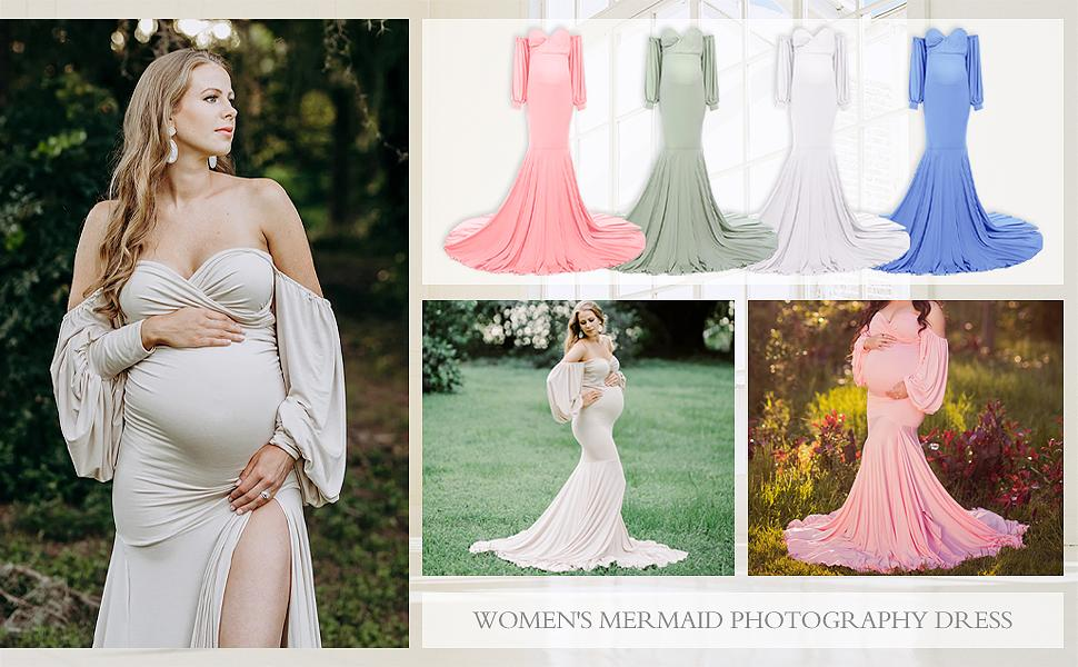 Maternity Photography Props Floral Lace Dress