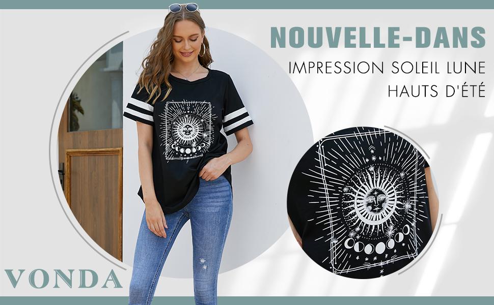 VONDA Femme T-Shirt Manches Longues Pull Femme Sweatshirt Décontractée Col Rond Blouse Casual Shirt De Sport