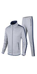 Guanzizai Menamp;#39;s Casual Tracksuit  Set Full Zip Running Jogging Sports Jacket and Pants