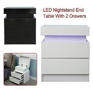 High Gloss Nightstand with 2 Drawers