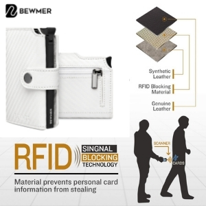 Portacarte di credito da uomo con prtezione rfid anticlonazione colore bianco Bewmer
