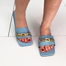 Women's Leather Sandals Strap Slides Chain