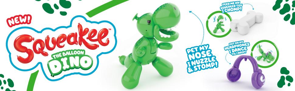 Squeakee The Balloon Dino - Ad with Headphone & Bone