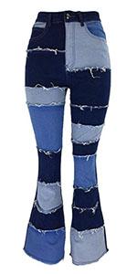 Women Patchwork Jeans Bell Bottom Raw Hem Denim Pants