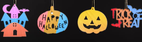 Halloween Slices Unfinished Wood Ornaments Halloween DIY Wood Cutouts for Kids Crafts and Art