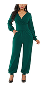 Women Jumpsuit Long Sleeves Wide Leg with Pockets
