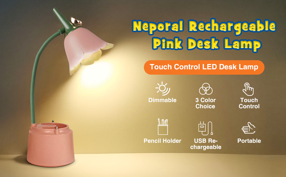 touch control pink desk lamp