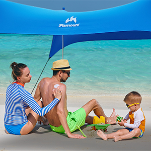 family camping with Flamount beach canopy tent