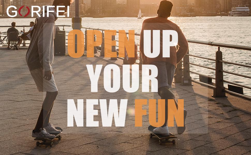 GORIFEI Standard Skateboard for Girls Boys Kids Adults